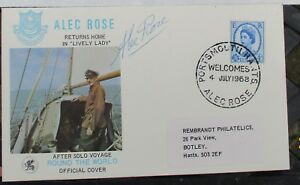 FDC Signed  Alec Rose, Yachtsman, Solo Round the World, special handstamp, COA