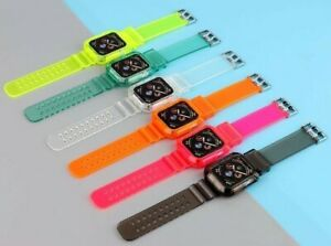 Bright Fun Clear Case & Band For Apple Watch Series 1 2 3 4 5 6 38 40 42 44mm