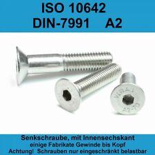 ~DIN 7991 Senkschrauben Innensechskant Edelstahl A2 Senkkopf M3-M16 ISO 10642