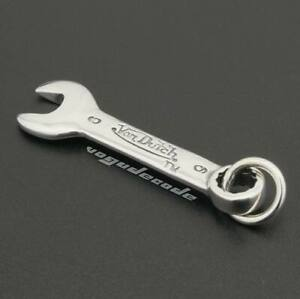 "Spanner Wrench 925 Sterling Silver Mens Biker Pendant 8B013B Steel Necklace 26"""