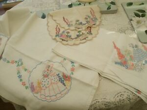 VINTAGE EMBROIDERED LINENS - INCLUDING CRINOLINE LADY/FLORAL TABLECLOTHS