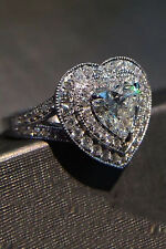 Valentine Engagement Ring 14k White Gold 3.2 ct Off White Heart Halo Moissanite