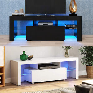 High Gloss TV Stand Cabinet Unit Media Storage Console Cupboard Table + FREE LED