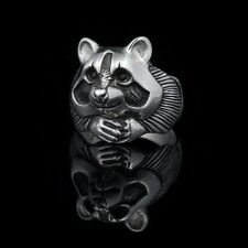 Raccoon Ring, sterling silver, handmade