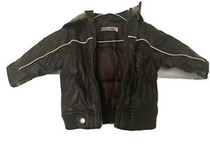 Baby BOYS BROWN PADDED LEATHER JACKET FROM TOM ET KIDDY SIZE 6 Months