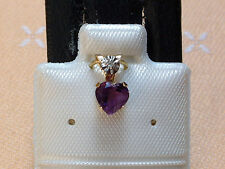 Feines Amethyst Herz - 5 x 5 mm - mit Diamant Krone - 10 Kt. Gold - 417 -