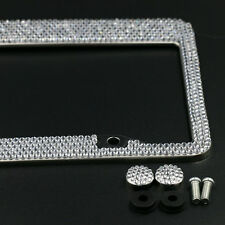 Silver Metal License Plate Frame Bling Shining Crystal Diamond Rhinestone