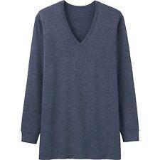 UNIQLO Men's HEATTECH Long-Sleeve V-Neck T-Shirt M BLU Stretch Under Garment NIP