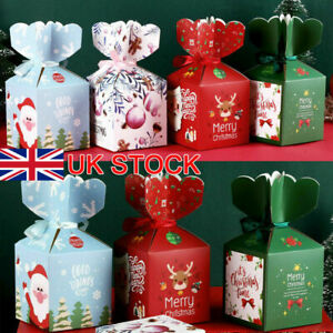 10-50X Christmas Xmas Gift Bags Candy Boxes Paper Carrier Creative Package Pouch