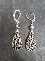 Silver Filigree Teardrop Earrings with Sterling Silver Leverbacks