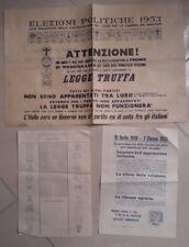 MANIFESTO ELEZIONI POLITICHE 1953 FAC SIMILE SCHEDA ELETTORALE LEGGE TRUFFA