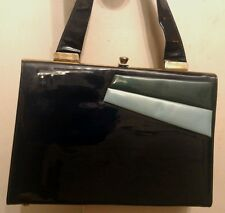 VTG NAVY PATENT VINYL HANDBAG W/ TURQUOISE AND FOREST GREEN ACCENTS by BERNE CA