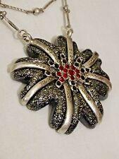 "Chico's Multi Strand Necklace Flower Pendant Black Silver Red Rhinestone 19 3/4"""