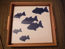 """NEW 7.75"""" x 7.75"""" Blue Fish Tile Art Hot Plate with Wooden attached Tray"""