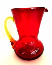 Blenko Red Crackle Glass Pitcher Yellow Gold Applied Handle 5.75 inches Tall