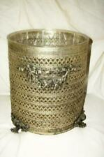 Matson Filigree Roses Trash Can Waste Basket Ormolu Liner Vintage Mid Century