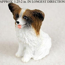 Papillon Mini Resin Hand Painted Dog Figurine Brown/White