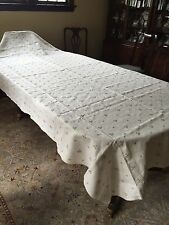 """Fabulous Embroidered 100%  LINEN Banquet Tablecloth 60"""" X 123"""" NEW! TAGS!"""