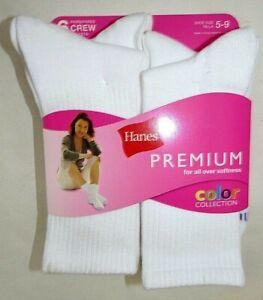 HANES Women's Crew Socks White Lightweight Poly/Span  6-pk  Size 5-9  #726/6