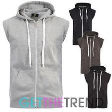 Mens Plain Hooded Gilet Mens Fleece Lined Hoodie Waistcoat with Pockets Cheap