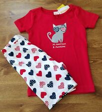 NEW GYMBOREE SHORT GYMMIES PAJAMAS SIZE 18 24 MONTHS ALL AMERICAN & AWESOME CAT