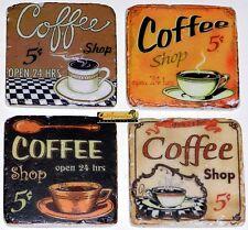 CERAMIC RETRO COFFEE COASTERS hot cold drinks Set/4 home restaurant Kitchen