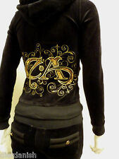 Christian Audigier Velour Tracksuit Hoodie Jog Set WJ0091 Black Size Large L