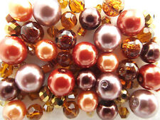 Glass Bead Mix / Bracelet Making Kit - Brown & Gold - Mixed Spice