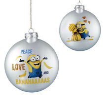 Despicable Me-Minion Ornament-Glass -Peace Love and Bananas-Holiday!