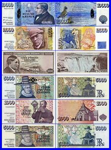 COPY !  ICELAND -LOT KRONER-- 6 PIECES---UNC--COPY--REPRODUCTIONS--NOT REAL--