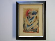 VINTAGE ABSTRACT EXPRESSIONISM DRAWING CUBIST CUBISM MYSTERY ARTIST 1950'S MCM