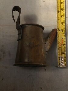 Mini vintage brass oil can antique? Trademarked