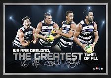 Geelong Cats Signed AFL Player Print Framed Joel Selwood Hawkins Johnson Bartel