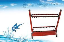 Premium aluminium  sturdy 26 slots fishing rod rack with wooden finish