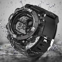 SANDA Waterproof Date Week Silicone Digital Analog Alarm Mens Sport Wrist Watch
