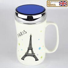 Ceramic Tea Coffee Mugs With Glass Lids Travel Mug Rubber Seal Screw Lid Paris