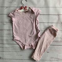 Baby Girls 3-6 Months - Vest Top & Leggings Set - GAP Pink Stripe T-shirt Bow