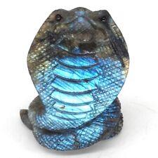 "2.7"" Natural Gems Labradorite Crystal Cobra Snake Carved Animal Figurine Decor"
