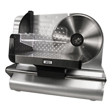 Weston 75 Electric Meat Slicer 200w Silver Stainless Steel Food Tray Kitchen