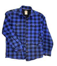 Mens Levis Insulated Shirt Jacket Blue Black Plaid Medium Full Snap Front