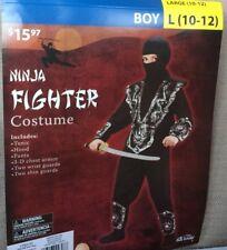 NEW Ninja Fighter Costume Halloween Children's Size Large 10-12 Black + Silver