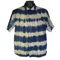 Kavu Mens Casual Cotton Hawaiian Shirt Blue w/ White Yellow Burst Stripes - L