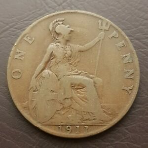 1911 Great Britain Penny Bronze Large Cent Coin UK Britannia Trident and Shield