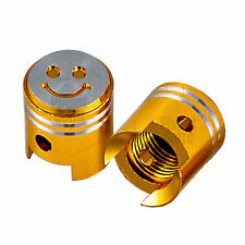 Gold 2x Valve Cap Cover Tire GSXR 600 750 Ninja R1 R6 Lid Piston Smiley CNC