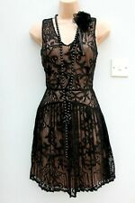 Warehouse Size 14 20s Gatsby Flapper Charleston Vintage Style Black Lace Dress