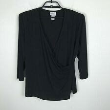Chico's Wrap Style Blouse Womens Size 3 Solid Black 3/4 Sleeve Stretch Shirt