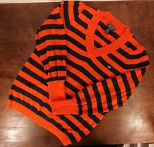 Womens Polo Ralph Lauren Orange Navy Striped Rugby V-Neck Sweater - Size XL