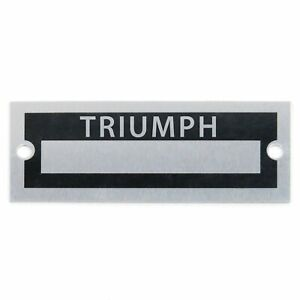 1959 - 1980 Blank Data Name Plate - Triumph TR250 TR7 TR8 TR2 Spitfire Herald