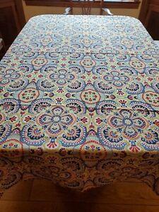 Fiesta Indoor Outdoor Fabric Tablecloth RIO MULTI 60x84 Oblong Seats 6-8 NIP