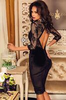 Abito cono ricamato pizzo nudo Trasparente Scollo Midi Lace Velvet Party Dress S